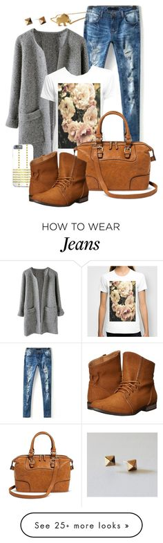 """""""grey cardigan and jeans"""" by by-jwp on Polyvore featuring Bueno and C Label"""