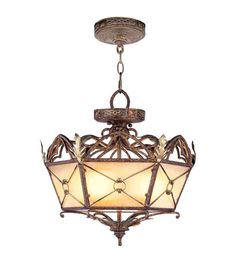 Livex Bristol Manor 3 Light Convertible Chain Hang/Ceiling Mount in Palacial Bronze with Gilded Accents 8824-64   Livex Lighting Lights -Fixtures- family dining