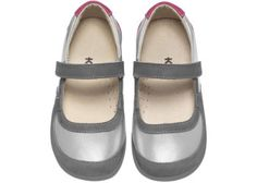 Adorable silver Mary Janes from See Kai Run - love the pink detail.
