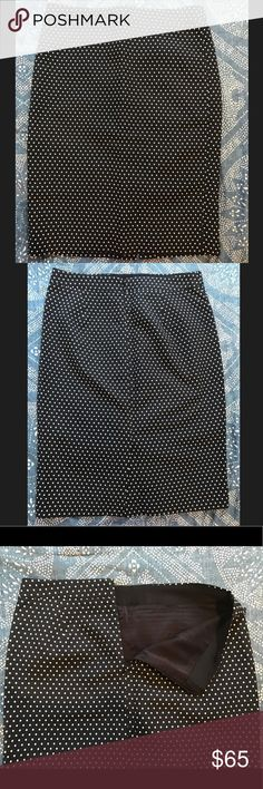 JCrew Navy w/White Polka Dot Pencil Skirt Size 4 Never worn and in perfect condition! This lined skirt hits at the knee and zips up the back. J. Crew Skirts Pencil