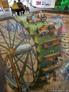 British artist Julian Beever's pavement art on show in Santiago, Chile - from the BBC News website