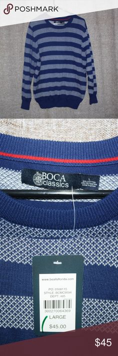 NEW! BOCA CLASSICS STRIPED PULL OVER SWEATER! BOCA CLASSICS PULL OVER SWEATER!  New With Tags!  Retails: $45.00  Size: Mens Large  Details: -Nice mens sweater for casual or special occasions! -Royal blue cotton blend knit material. -White stripe pattern throughout. -Crew neck style collar line. -Shoulder to hem measures approx. 29 inches. -Chest measures approx. 24.5 inches across. -Sleeve measures approx. 25 inches from shoulder.  *ALL ITEMS COME FROM A SMOKE-FREE & PET-FREE HOUSEHOLD…