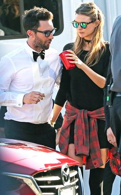 Behati Prinsloo made a wildly shady statement in chunky round tort sunnies with neon green and blue flash lenses!