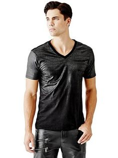 Faded Croc V-Neck Tee at Guess