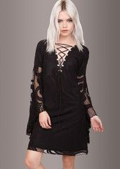 Mystic Black Lace Dress with Bell Sleeves and Lace Up Details