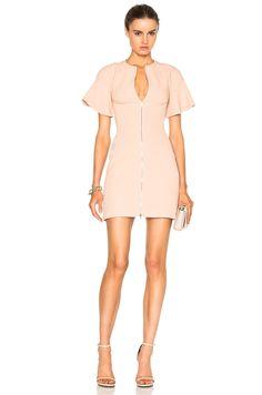 Image 1 of David Koma Front Zip Flounce Sleeve Mini Dress in Pink
