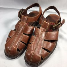 f22f77d8417d1f Cole Haan Country Brown Leather Fisherman Sandals Shoes Men s Size 9 1 2  9.5 D