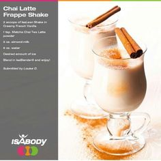 Isagenix Shake Recipes Find more isagenix recipes here. So many ideas to chose from. Make your Isagenix shake taste great just like it is or mix it up. Whey Recipes, Protein Shake Recipes, Coffee Recipes, Snack Recipes, Clean Recipes, Drink Recipes, Vanilla Chai, French Vanilla, Isagenix Snacks