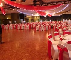 Red and White Indian Wedding Beautiful Rich fabrics for ceiling draping