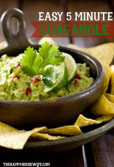 Easy 5 minute guacamole recipe with only 4 ingredients!   The Happy Housewife