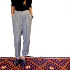 Vintage 80s High Waisted Houndstooth Trousers - 1980 Black & White Box Pleat Trousers - Ladies Trouser Pants Tapered Leg by HolaVintageShop, $49.00