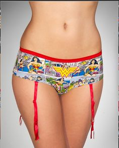 Wonder Woman Boy Shorts With Garters
