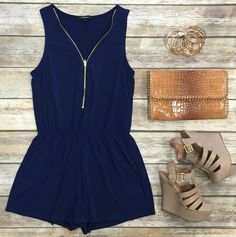 Zip Me Up Romper: Navy CASUAL DRESSES http://amzn.to/2l55mII