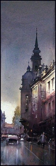 Dusan Djukaric After the rain, watercolor