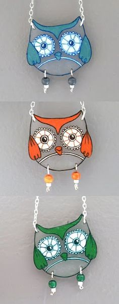 Making an owl bird necklace right now Plastic Fou, Shrink Paper, Shrink Plastic Jewelry, Shrink Art, Shrink Film, Owl Crafts, Diy And Crafts, Arts And Crafts, Owl Jewelry