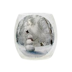 "Stony Creek 3"" x 3"" Frostd Glass Candle Holder Holiday Larry the Snowmen Series LHS6213-A"