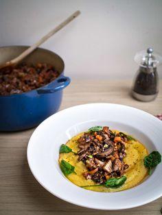 Mushroom Ragu with creamy polenta