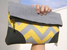 Chevron and wool clutch fold over  leather large by bagonebagshop, $32.00