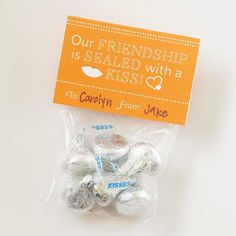 "Hershey's Kiss Valentine Gift        The name ""kiss"" makes this chocolate candy a perfect Valentine treat, but no one can stop at just one! Throw a handful into a bag and attach a label for a classic crowd-pleaser.        Get the free labels."
