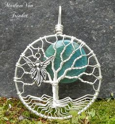 Tree of Life Pendant with Fairy Charm and Teal Crackle Agate Moon