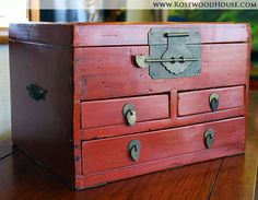 Rosewood House Fine Furniture & Asian Antiques | Red Lacquer Jewelry Box