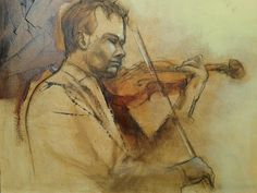 Violinist by Alida Bothma Oil on Canvas Classical Music, Art Oil, Oil On Canvas, Acrylics, Gallery, Artist, Paintings, Portraits, Roof Rack