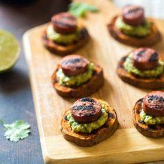 Spicy Grilled Sweet Potatoes with Avocado Salsa and Turkey(Vegan Sausage)Sausage - Grilled Sweet Potatoes are covered with creamy, smooth avocado salsa and turkey sausage for a quick, easy and healthy appetizer! Perfect for summer entertaining!   Foodfaithfitness.com   @FoodFaithFit
