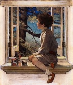 Female Artists in History Page Liked · March 2015 · Jessie Willcox Smith (American illustrator) 1863 - 1935 Dream Blocks, 1908 mixed media on board 28 x 19 in. x cm) private collection Art And Illustration, American Illustration, Vintage Illustrations, Vintage Artwork, Jessie Willcox Smith, Window Art, Oil Painting Reproductions, Nursery Wall Art, Belle Photo