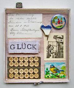 mano kellner, project 2014, wunderkammer nr 27, glück Mixed Media Collage, Collage Art, Paper Art, Paper Crafts, Easy Canvas Art, Tin Art, Tiny Dolls, Tiny Treasures, Assemblage Art