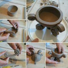 Shaping one of my raku pottery cauldrons bowls