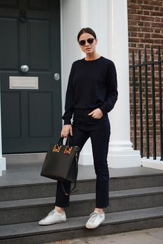 All black | sneakers | street style  Harper and Harley