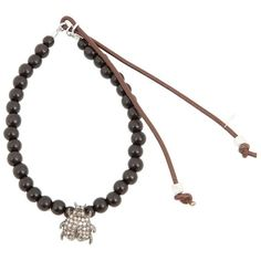 Catherine Michiels Beaded Bracelet ($421) ❤ liked on Polyvore featuring jewelry, bracelets, black, leather bracelet, beads & charms, leather charm, bracelet bead charms and bracelet bangle