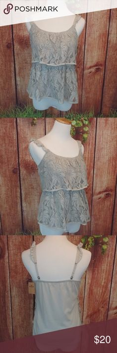 NWT Hollister Tank NWT, gray tank with layered lace overlay. The shoulders have a ruffled piece attached and the logo is sewn into the left side.	 Size  Medium Length 22 Width 29 60% cotton, 40%poly	 Inv # C36 Hollister Tops Tank Tops