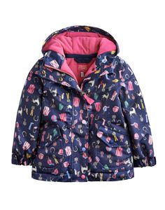 Joules Girls Waterproof Coat, Navy Horsey Dolly Mixture.                     Our much-loved rain coat is back in new prints.  100% waterproof with a fleece lining this machine washable coat is ideal for school and beyond.
