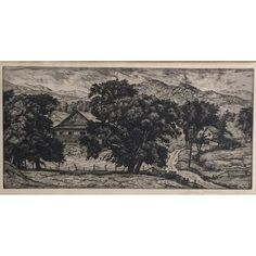 Luigi Lucioni Vermont Landscape Etching with Barn 1935