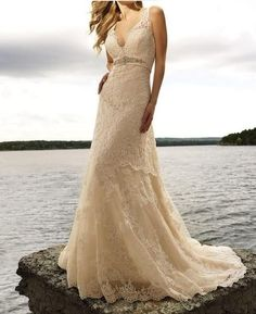 Free shipping New Lace V Neck Ivory Bead Sheath Wedding Dress on AliExpress.com. $129.00