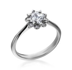 MaeVona - Heather Collection 18K White Gold Diamond Petal Setting (Available at Michael C. Fina)