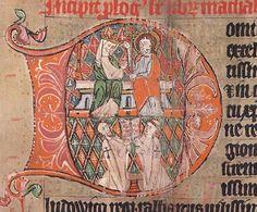 Initiale aus der Bibel des Hochmeisters Luther von Braunschweig, 1321, kniender Ritterbruder und Priesterbruder unter Christus der Maria krönt.