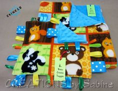 Baby Gift Set - Minky Blanket & Sensory Toy, Stroller Blanket, Taggie, Tag Blanket, Play Mat, Changing Pad, Wildlife, Owl, Squirrel, Bear