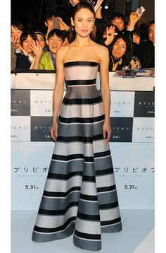 Olga Kurylenko looked stunning in a striped Dior gown