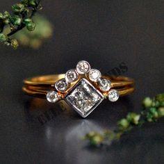 14K Gold Over 2CT D/VVS1 Bridal Diamond Engagemnet Ring Set FREE SHIPPING #ElleDiamonds #BridalRingSet #EngagementWeddingAnniversary