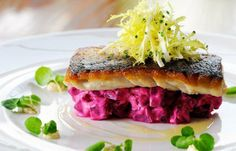 Seared Mackerel and Beetroot. Seared mackerel with beetroot horseradish and watercress. Tart Recipes, Fish Recipes, Seafood Recipes, Cooking Recipes, Healthy Recipes, Beetroot Relish, Mackerel Recipes, Great British Chefs, Party Decoration