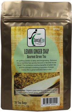 This is a Top 10 seller! An uplifting combo is tasty and invigorating. Delicious hot or iced this has quickly become a favorite house blend. The numerous positive benefits of green tea and the stomach soothing properties of ginger makes this a great selection hot or iced. Lemon Ginger Snap Organic Tea Type: Green Tea  Ingredients: organic green tea, organic ginger root, organic lemon grass, organic lemon mytle  Origin of Lemon Ginger Snap Organic : Anhui, China  Green Tea Reduces high blood…