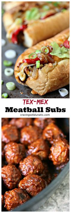 Tex-Mex Meatball Subs from cravingsofalunatic.com- Meatballs smothered in enchilada sauce, topped with roasted red peppers and caramelized onions, then topped with a Mexican 4 Cheese Blend. All packed into mini sub buns. (@CravingsLunatic) #sponsored