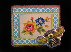 """Bee In The Trellis Brooch Emily Hickman  Copper, Sterling Silver, Vintage Tin, Japanese Tin Pin, Nickel Silver  Brooch measures 2 7/8"""" wide by 2 1/4"""" tall."""