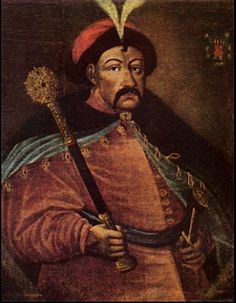 Bohdan Khmelnytskyi(1595-1657),(18th c. painting)Ukrainian kozak hetman. Rebelled against Polish rule in Ukraine1648.Signed  1654 Treaty of Pereyasliv with Moscow, which resulted in tragedy for Ukraine.Generally Khmel'nyts'kyi is a hero to Ukrainians for his breaking Ukraine free from the Poles ,but he is despised for his allowing Ukraine to fall under Russian rule.from Iryna