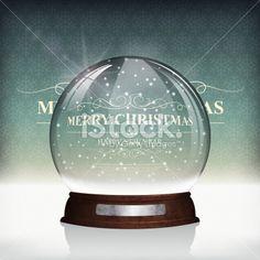 Christmas Snow globe on Vintage Background Royalty Free Stock Vector Art Illustration
