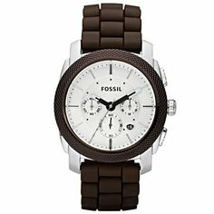 Fossil Men's FS4596 Brown Silicone Quartz Watch with White Dial Fossil. $99.95. Save 13%!