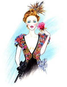 Blossom Like A Flower, Inspired by Schiaparelli Couture Fall 2015 collection Illustration by Sunny Gu