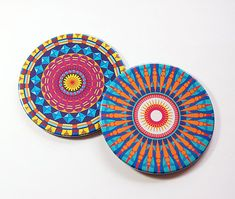 Mandala Coasters, Drink Coasters, Set of Coasters, Barware, Hostess Gift, Coasters, Home Decor, Bright colors, Housewarming Gift (5104e)